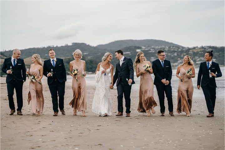 New Zealand Whitianga Wedding party on Buffalo Beach Coromandel