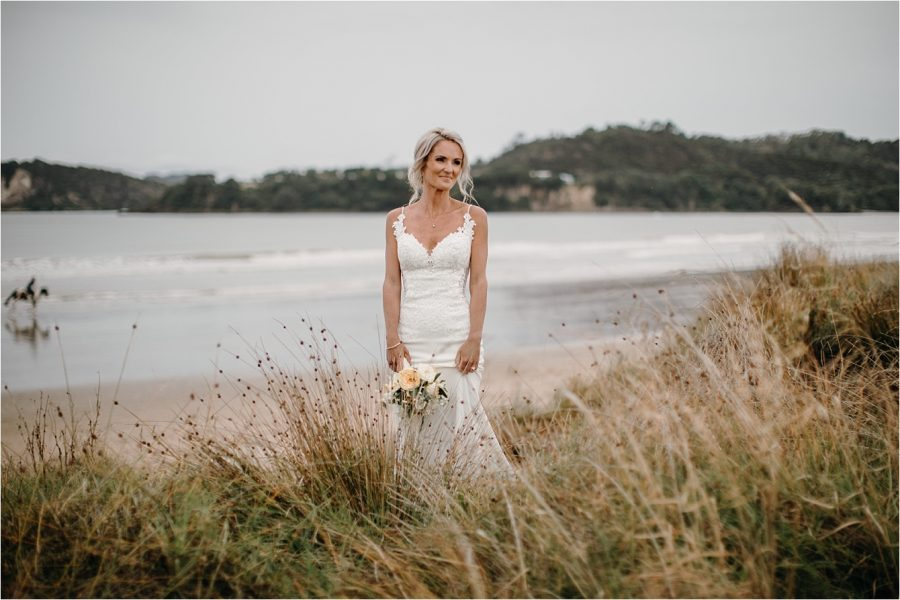 Bride on Buffalo Beach Whitianga