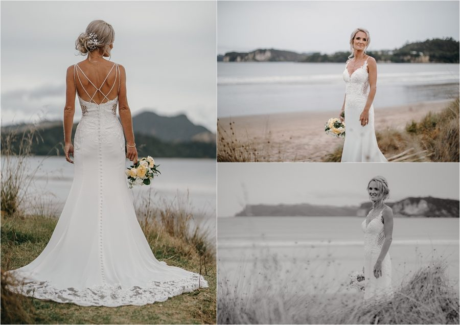 Bride on beach Whitianga