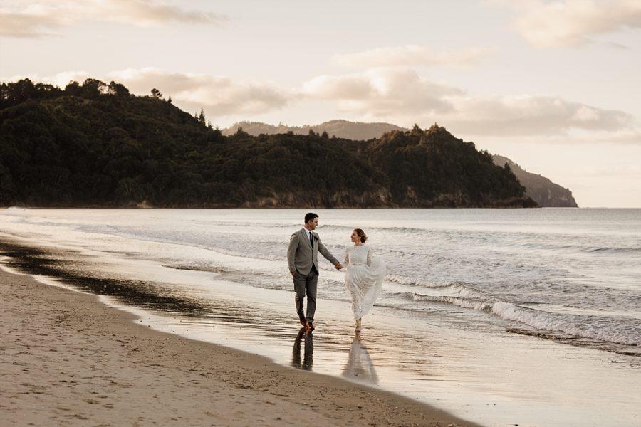 Waihi elopement walking the beach