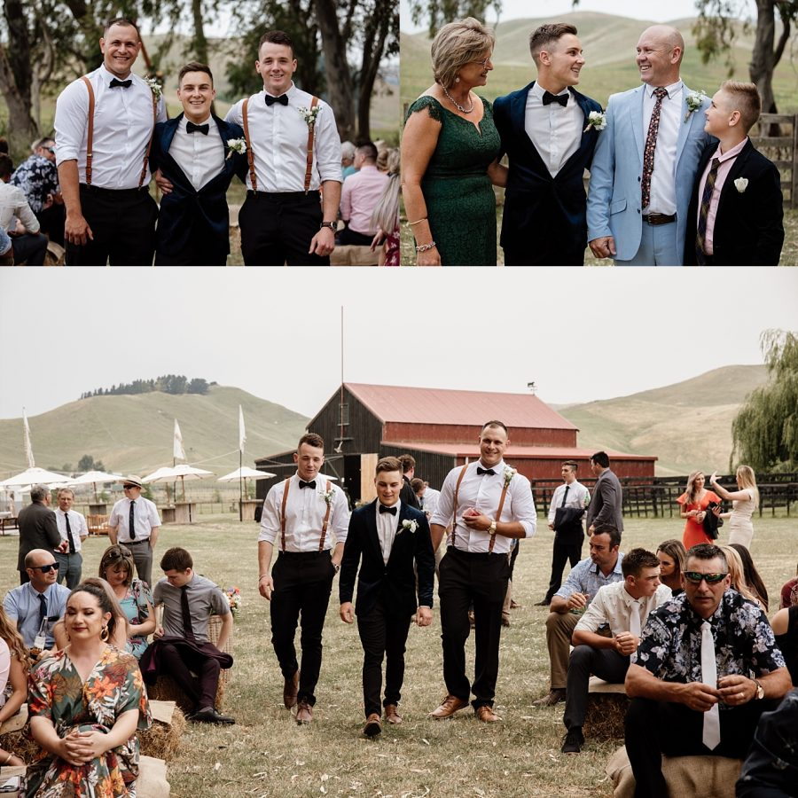 Groom with groomsmen in braces