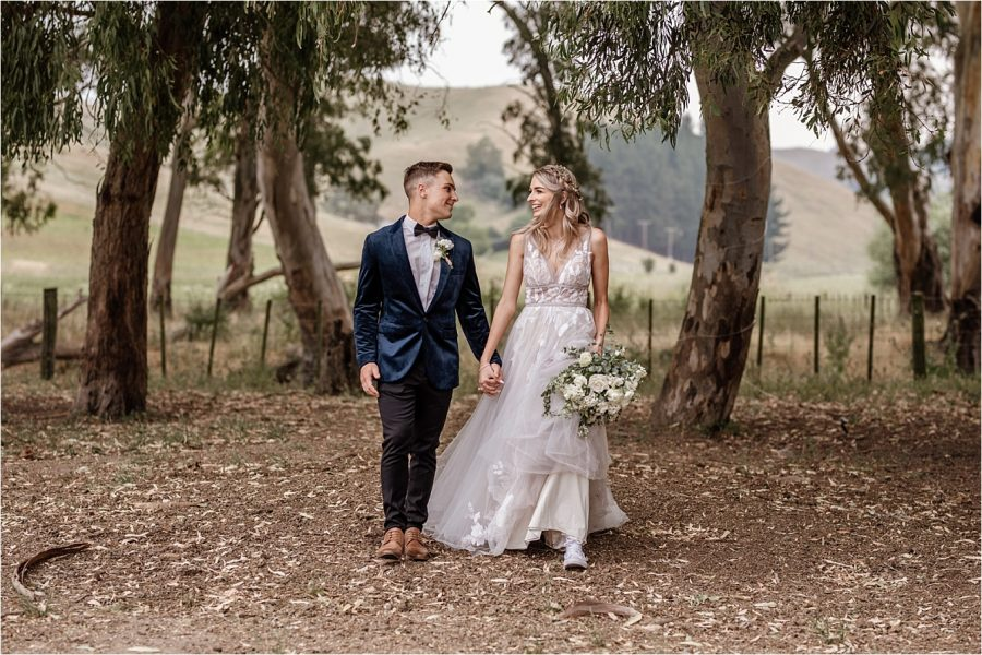 Country bride and groom blue velvet jacket
