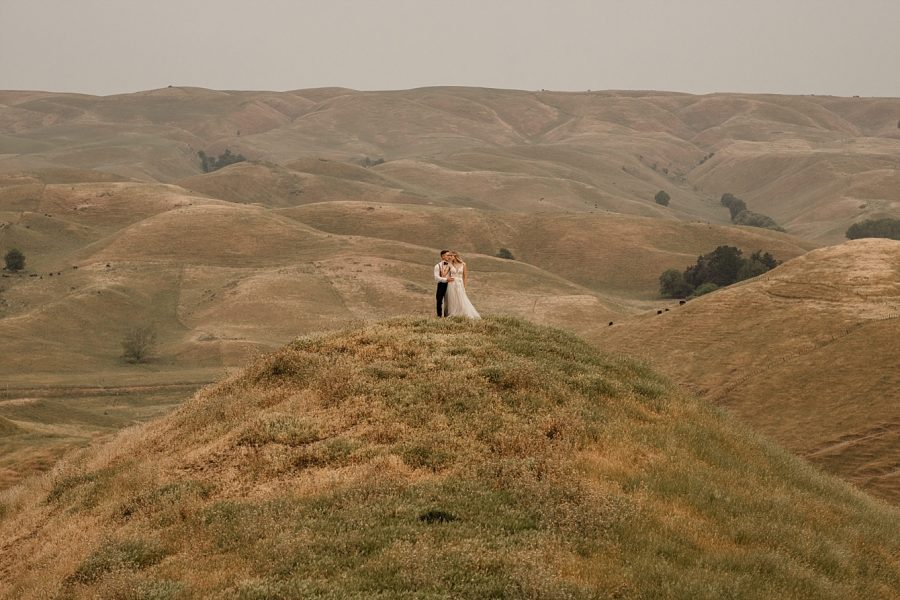 Bride and groom at Waiterenui country wedding venue