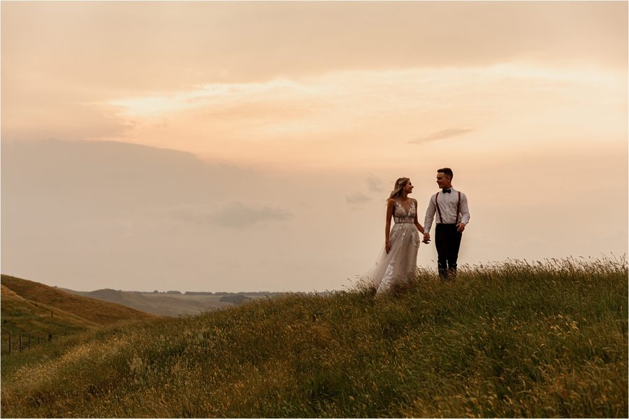 walking the hills at Waiterenui Hawkes Bay wedding venue