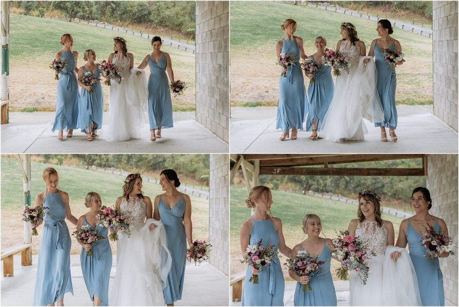 Bridal party in powder blue dresses