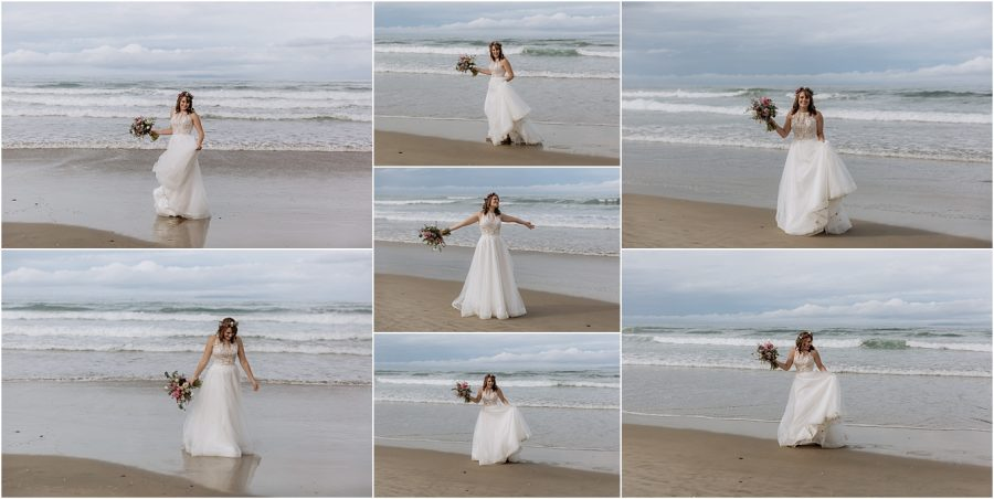 Happy bride celebrating on the beach