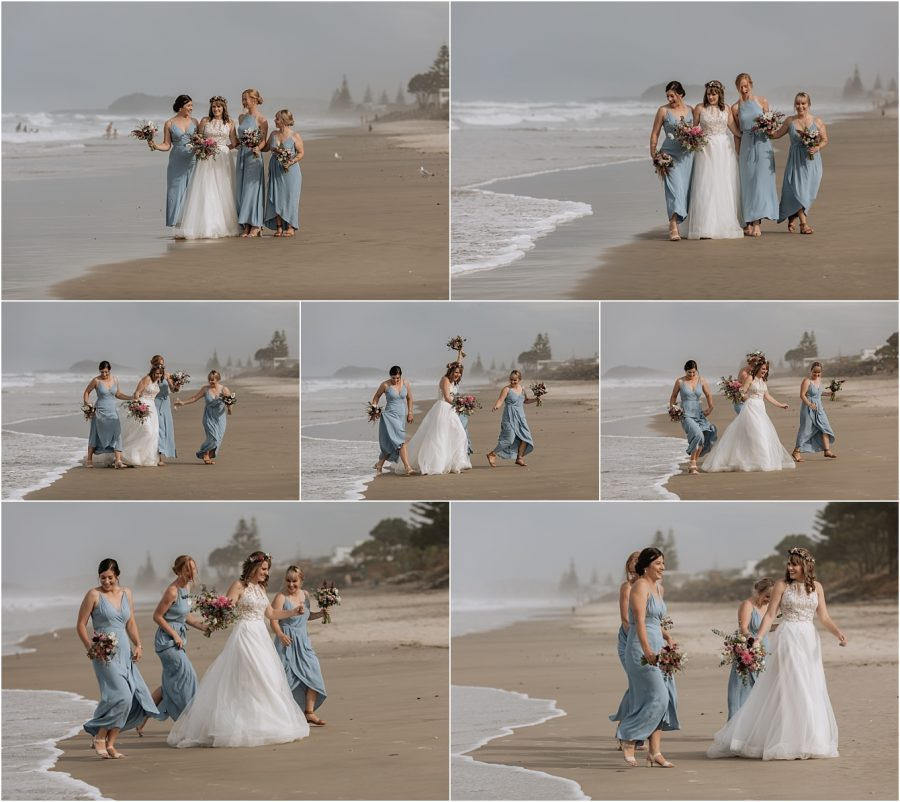Bride with her bridesmaids walking on the beach