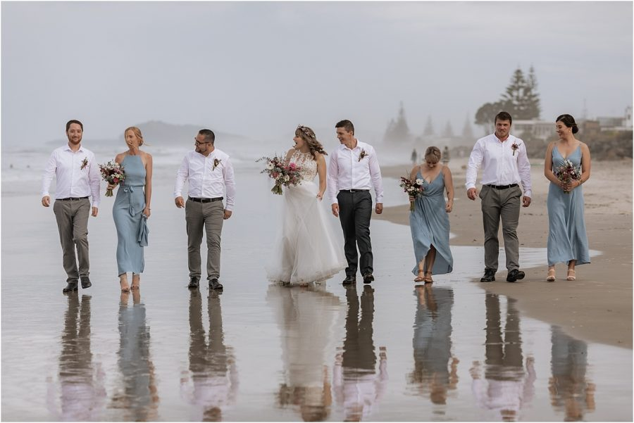Pure Images photography capturing wedding party on Waihi Beach