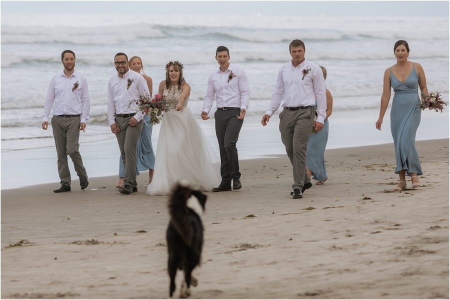 Bridal party and dog
