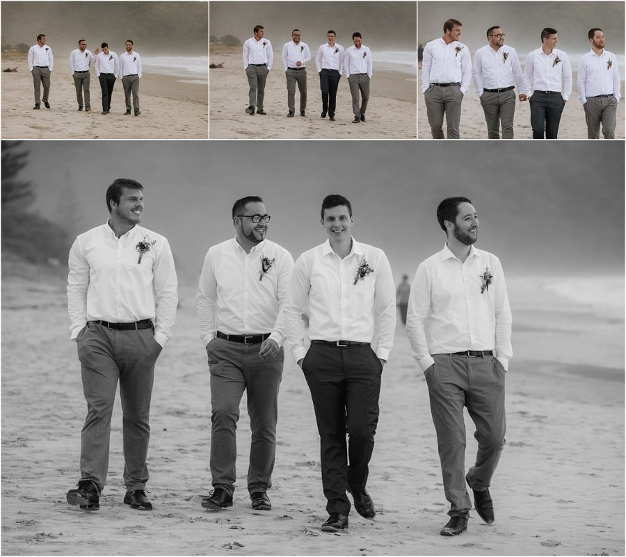 Groom with groomsmen on Waihi Beach