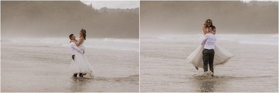 Having fun on Waihi beach during their wedding photography