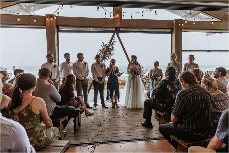 Wedding ceremony in progress at Flat White Cafe in Waihi