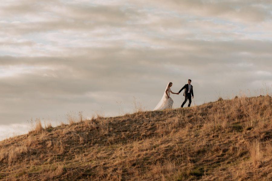 Elopement couple walking up Te Mata Peak in the Hawkes Bay