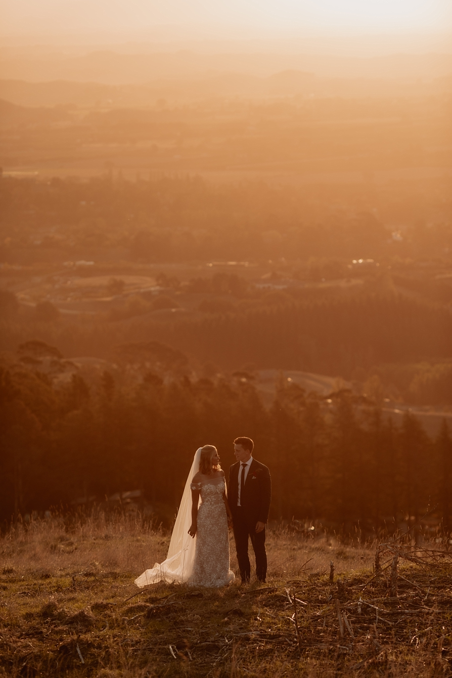 Elopement photos in the Hawkes Bay at Golden hour
