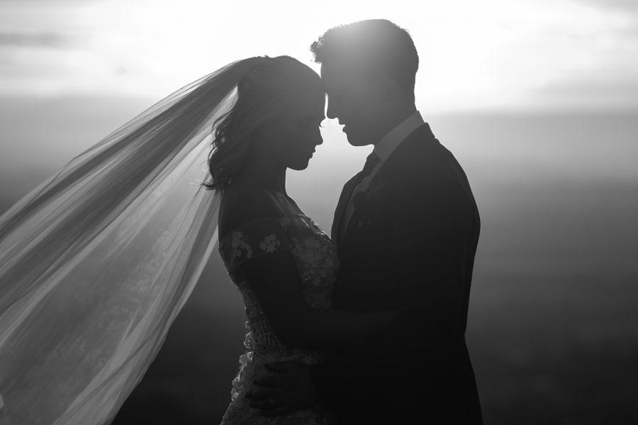 Black and white silhouette bridal portrait