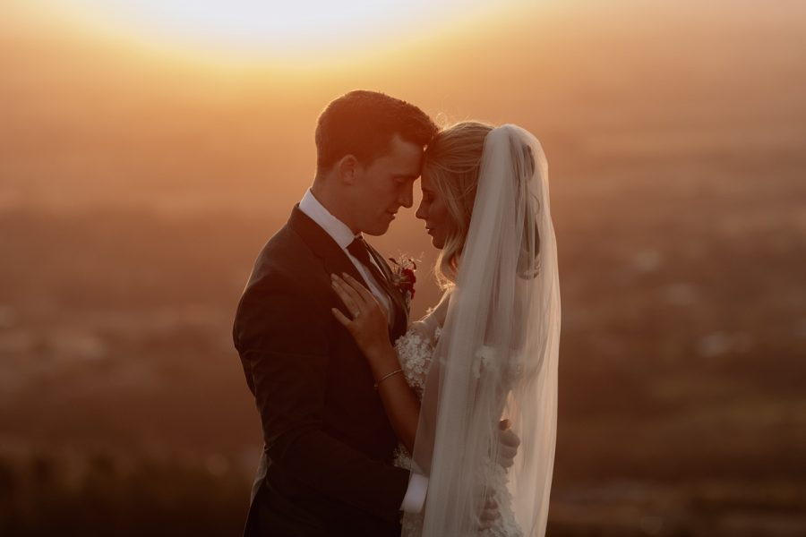 Romantic moment of wedding couple