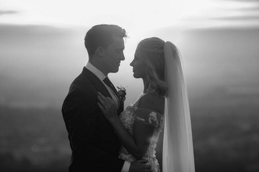 Black and white elopement moment