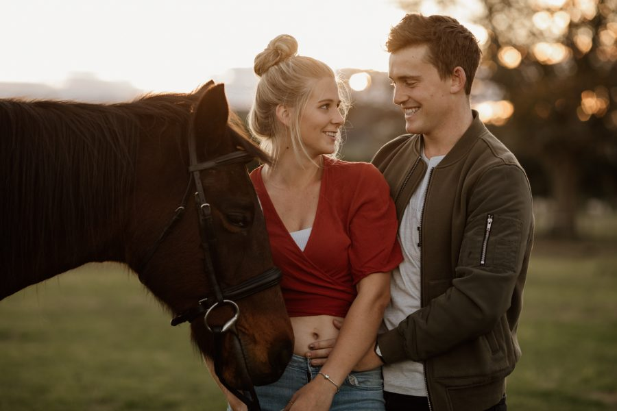 engagement photo with horse