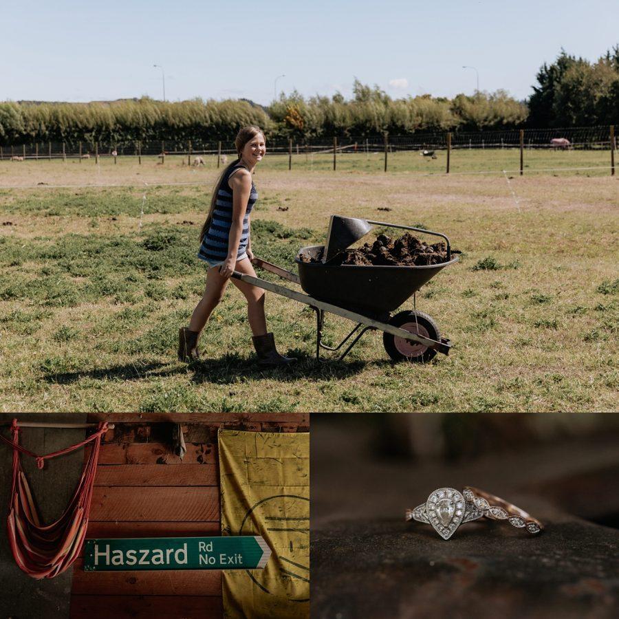 Girl doing farm work and wedding rings
