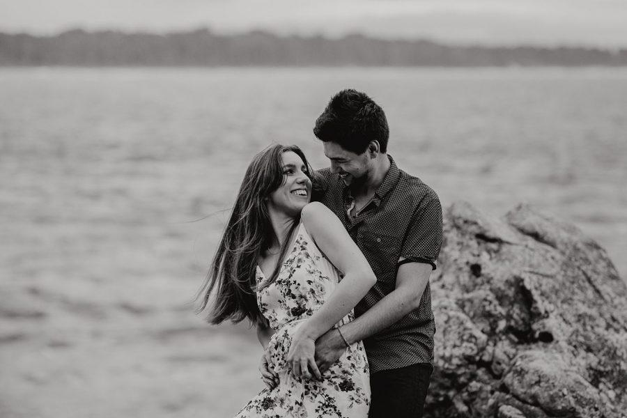 Engagement photo of happy couple