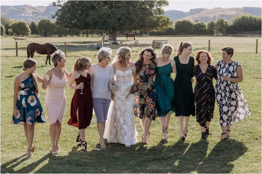 Bridal squad all walking happily