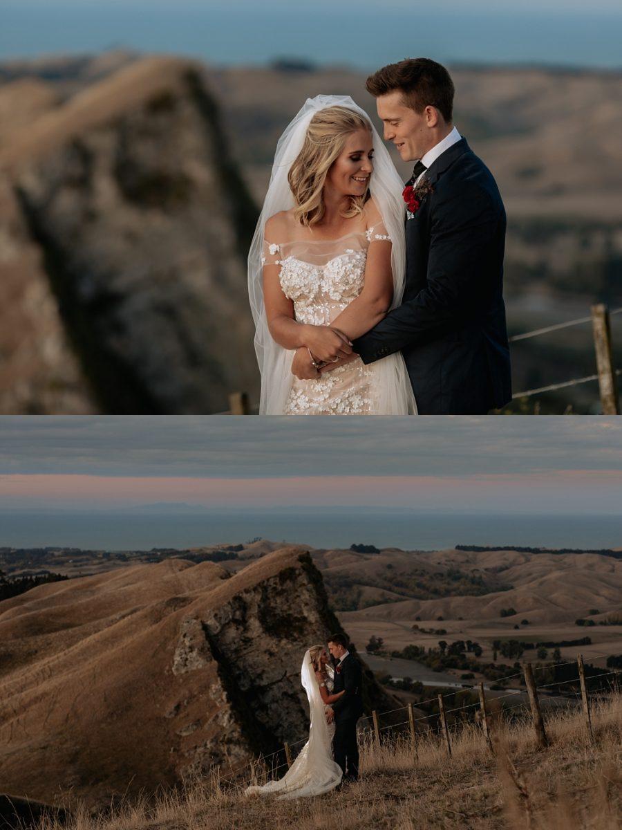 Cliff top elopement couple in New Zealand