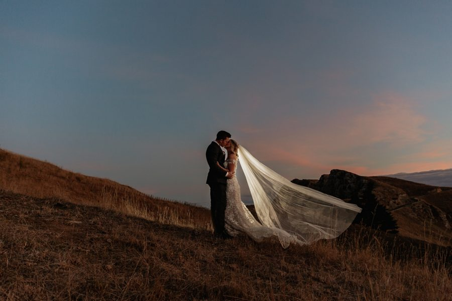 Late light wedding picture on hill tops