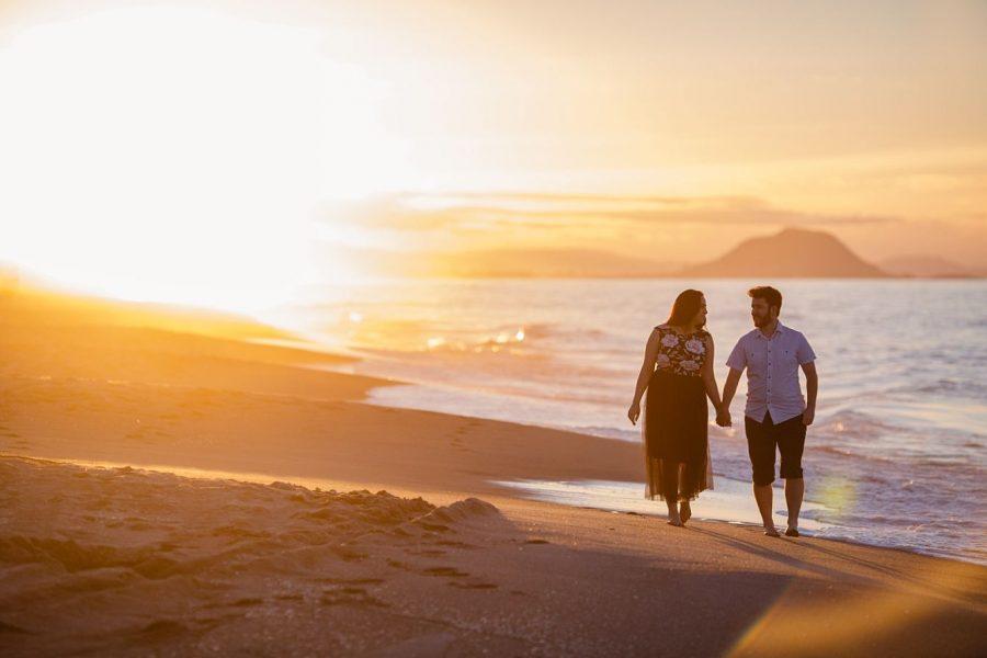 golden light engagement shoot on Papamoa beach