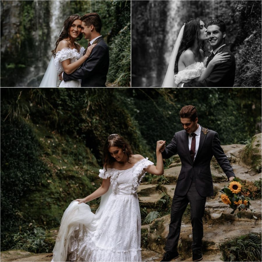 Bride and groom having fun in front of waterfall