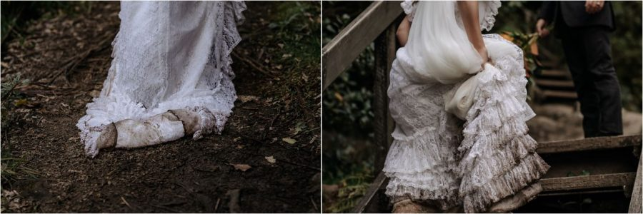 Bride climbing steps in her wedding dress