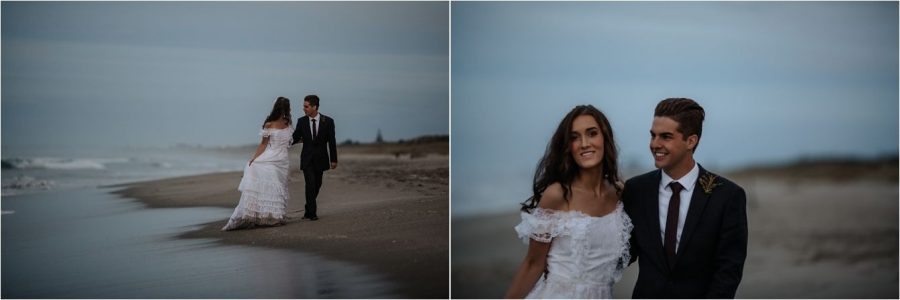 Natural candid moments at dusk with elopement couple on Papamoa Beach New Zealand