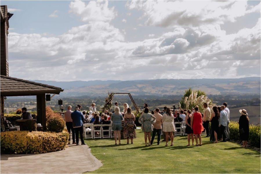 Wedding ceremony at Eagle Ridge lawn