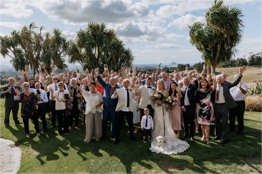 Large wedding party photo