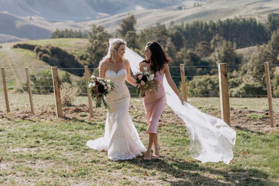 Bride with her sister in pink