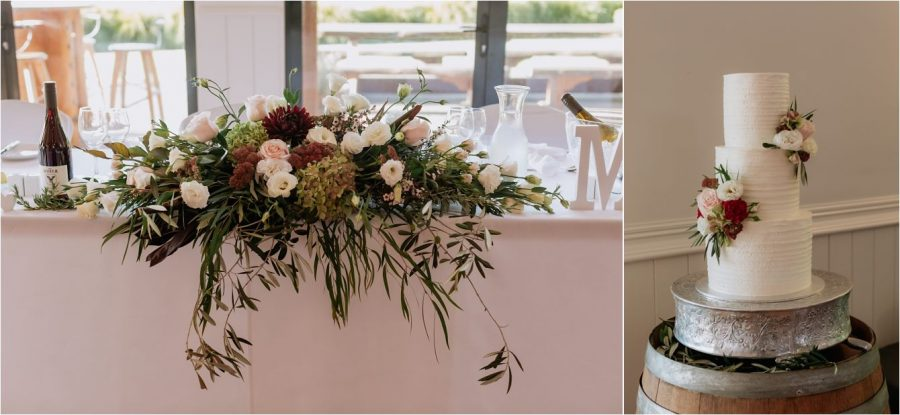 Wedding cake and floral table arrangements