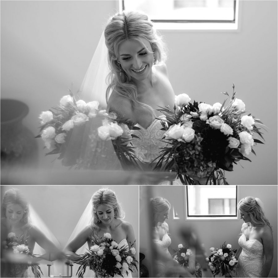 Black and white photos of bride and staircase