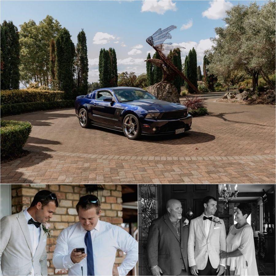Wedding car arrival, groom with family