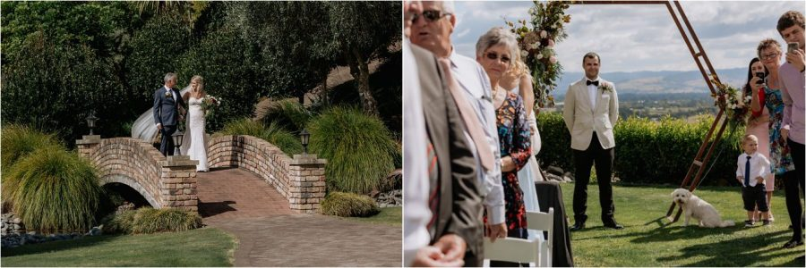 Walking toward her groom with father of the bride