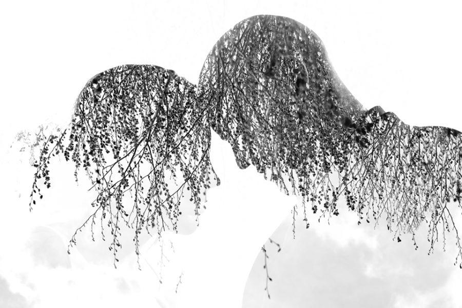 Double exposure portrait of bride and groom at Tauranga's Ataahua Garden Venue