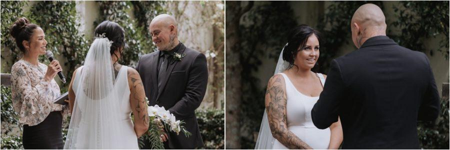 Bride and Groom saying vows at Tauranga Ataahua