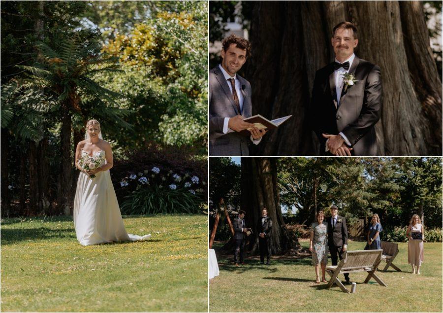 Groom watches as Bride walks down aisle