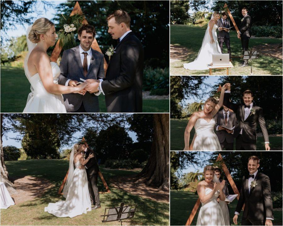 Wedding ceremony in Tauranga back yard garden, first kiss