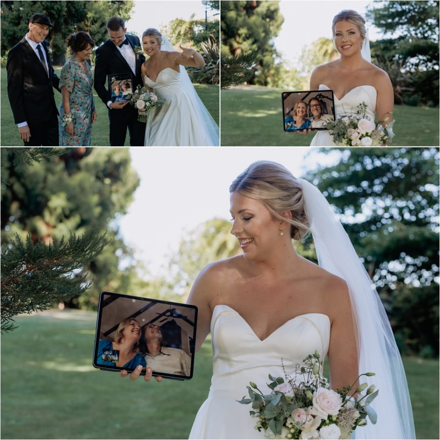 Bride with parents on screen via zoom screen