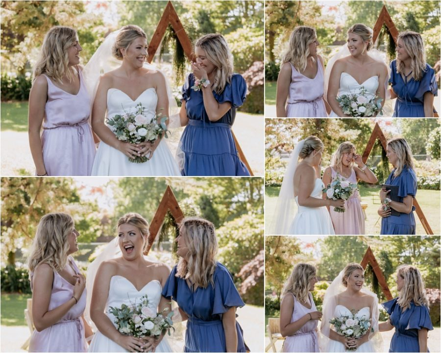 Bride with bridesmaids in pink and blue dresses