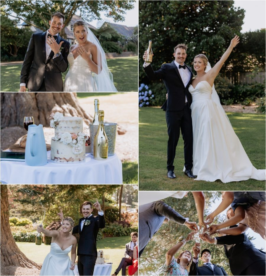 Congratulation photos of bride and groom and party with cake and champagne