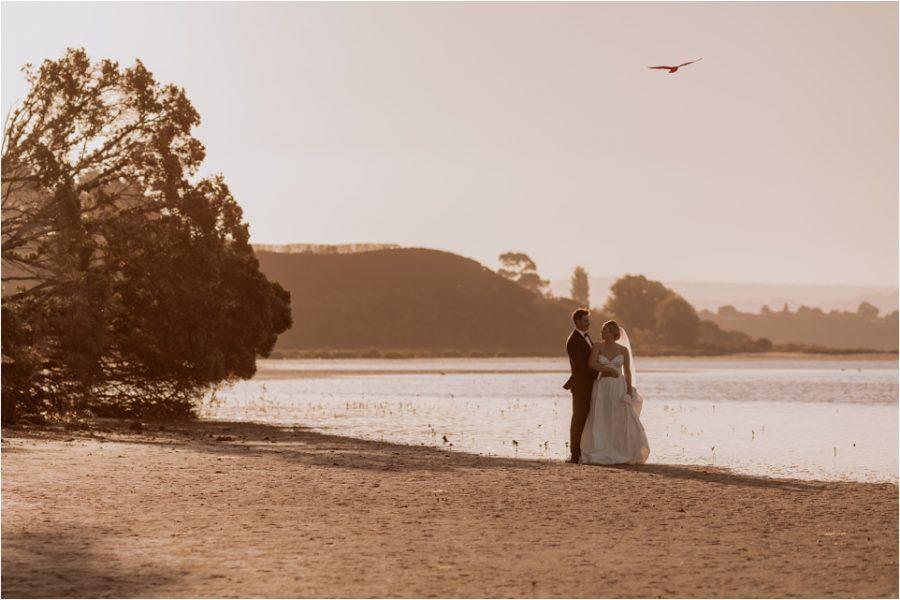 Wedding photos on mudflats in Welcome Bay Tauranga