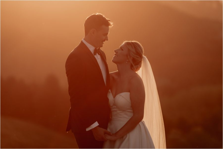 Golden hour photos of bride and groom