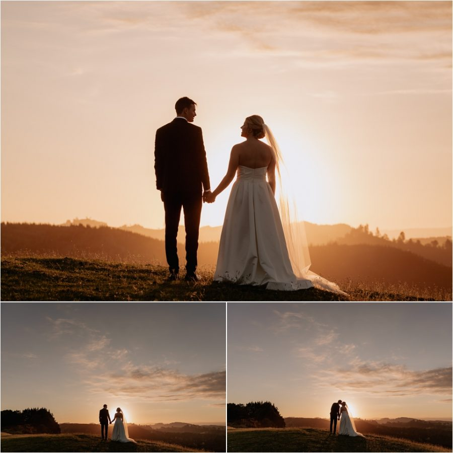 Sunset wedding photos on top of hill