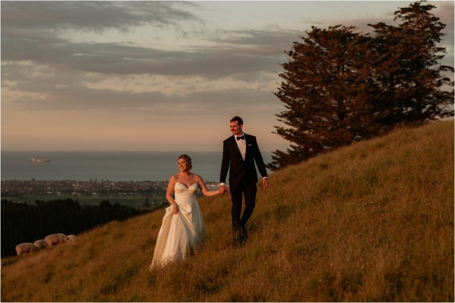 Country scene with the Pacific Ocean behind wedding couple looking at the sunset