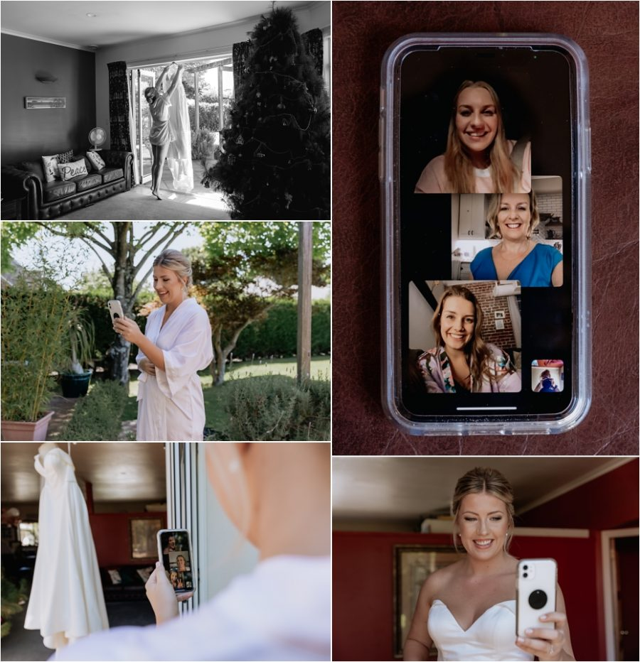 Bride zooming her parents in the United states while she gets ready in her wedding dress